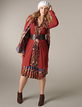 Long Ribbed Cardigan, Pleated Front Dress|Lane Bryant