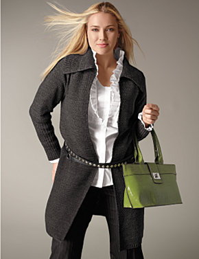 Sweater Coat, Pintuck Shirt, Trouser|Lane Bryant