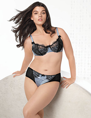 Lace Overlay Balconette Bra, Satin and Lace Panty :  plus size lingerie lane bryant plus size