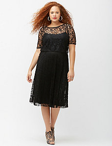 6th & Lane pleated lace midi skirt
