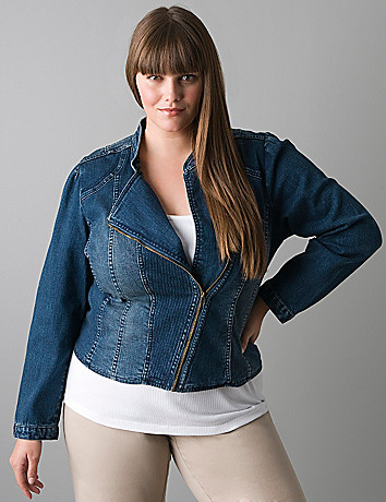 Plus size Denim moto jacket by Lane Bryant
