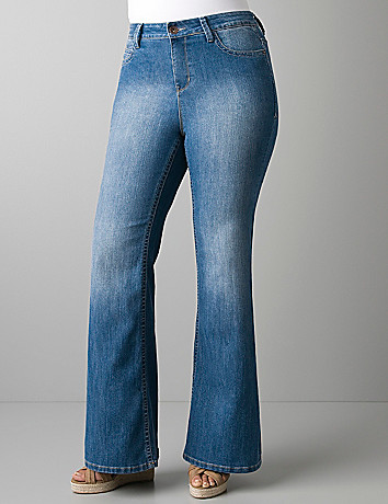Light sandblast flare jean by DKNY JEANS