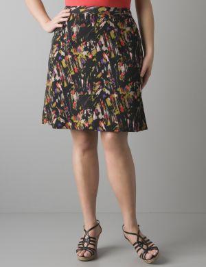 Brushstroke A-line skirt