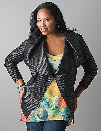 Pieced faux leather moto jacket by Lane Bryant