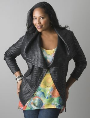 Pieced faux leather moto jacket