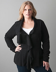 Plus sized Ruffle front fleece jacket by Lane Bryant