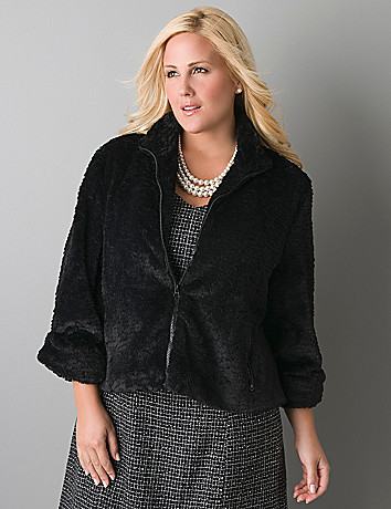 Faux fur jacket by Lane Bryant