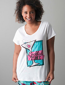 Plus size Cocktail time sleep tee by Cacique