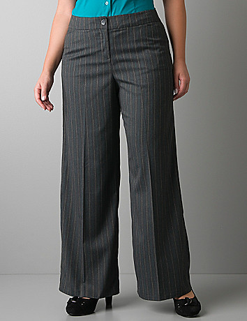 Pinstripe wide leg trouser by Lane Bryant