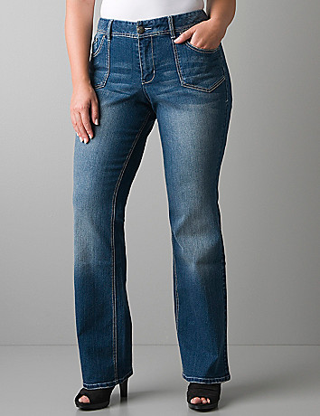 Pork chop pocket boot cut jean by Lane Bryant