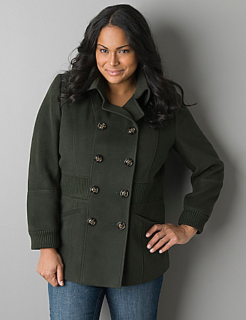 Plus size Ribbed  accent peacoat by Lane Bryant