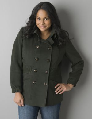 Ribbed accent peacoat