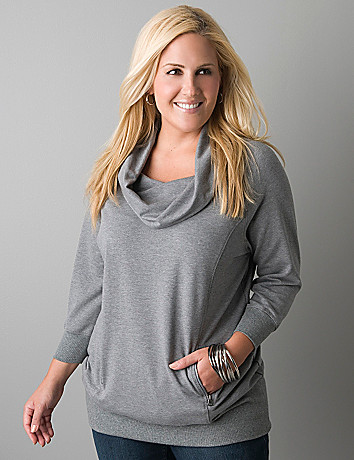 Cowl neck terry tunic by Lane Bryant