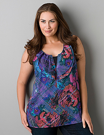 Crosshatch floral sleeveless blouse by Lane Bryant