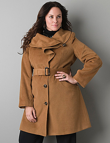 Ruffled collar coat by Lane Bryant