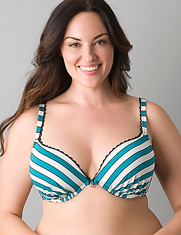 Striped plunge bra with cherry charm by Cacique