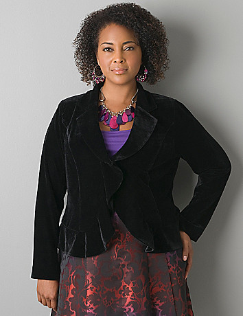 Ruffled velvet blazer by Lane Bryant