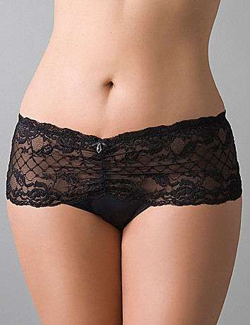Plus sized Satin & lace crotchless panty by Cacique