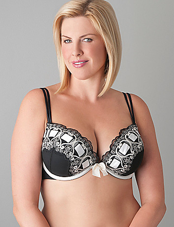Ribbon slotted plunge bra by Cacique