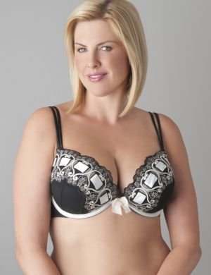 Ribbon slotted plunge bra