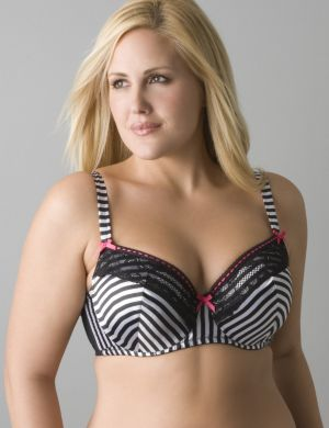 Striped balconette bra