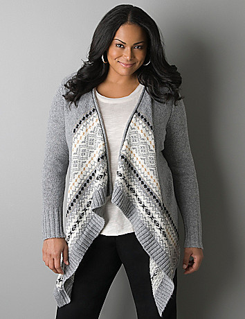 Fair Isle sparkle cardigan by Lane Bryant