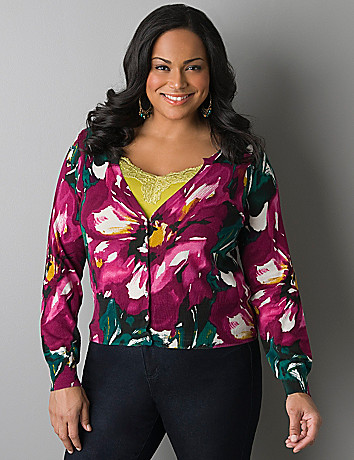 Rhinestone button floral cardigan by Lane Bryant