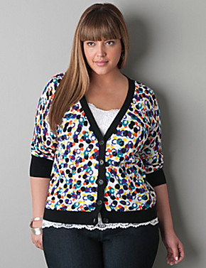 Paintball print 3/4 sleeve cardigan by Lane Bryant