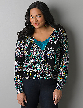 Rhinestone button cropped paisley cardigan by Lane Bryant