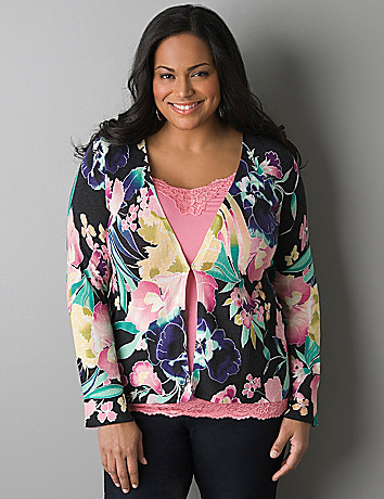 Orchid print long sleeve cardigan by Lane Bryant