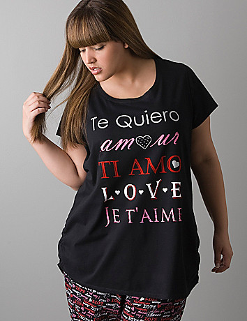 Language of love sleep tee by Cacique