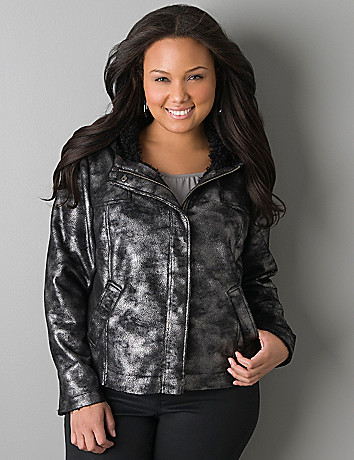 Metallic shearling moto jacket by DKNY JEANS
