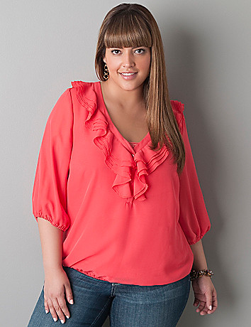 Sheer ruffled peasant top by Lane Bryant