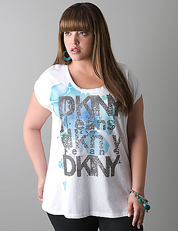 Rhinestone floral logo tee by DKNY JEANS