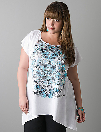 Foil floral sharkbite tee by DKNY JEANS