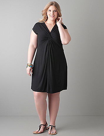 Knot front knit dress by Lane Bryant