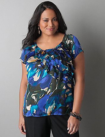 Ruffle front floral blouse by Lane Bryant