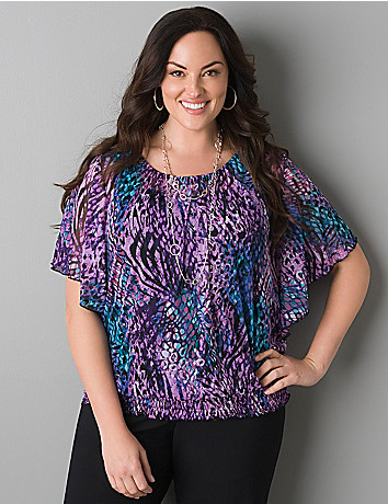Sheer animal print top by Lane Bryant