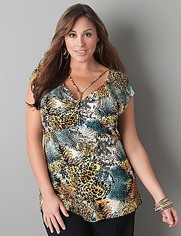 Animal print string necklace top by Lane Bryant
