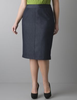 Refined denim pencil skirt