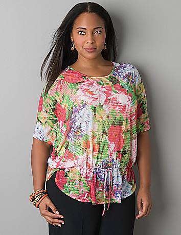 Floral flutter side top by Lane Bryant