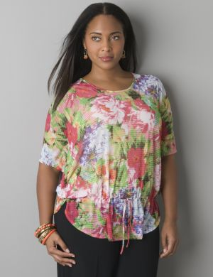 Floral flutter side top