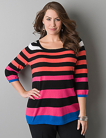 Plus size 3/4 sleeve striped sweater