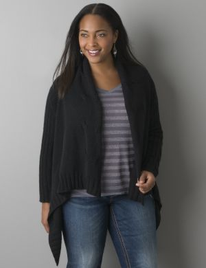 Cable knit flyaway cardigan by Seven7