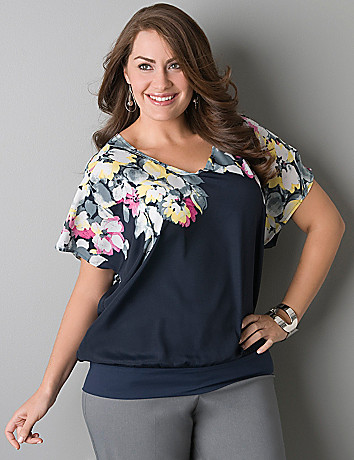 Full figure Floral band bottom blouse by Lane Bryant