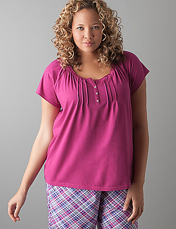 Short sleeve pintuck sleep top by Cacique