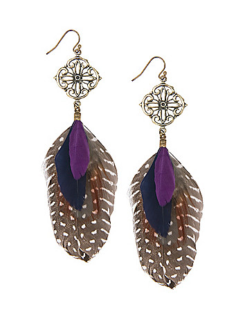 Layered feather earrings by Lane Bryant
