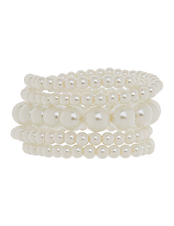 5 row faux pearl bracelet by Lane Bryant