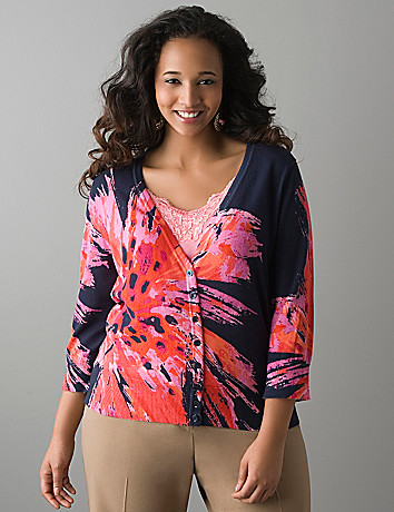 Tiger lily 3/4 sleeve cardigan by Lane Bryant