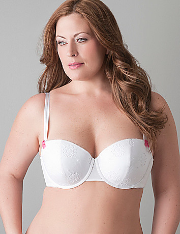 Eyelet lace cotton demi bra